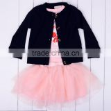 3PCS children Kids Lovely Cute Outfit Set long sleeve Cardigan + T-Shirt + tulle Skirt 20147
