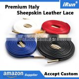 "Customized Length 24"" 27"" 30"" 36"" 45"" 54"" 63"" 72"" Flat Genuine Sheepskin Leather Shoelace for Brand Shoes Dress Shoelaces"