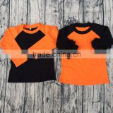 Wholesale Boutique Boys and Girls Halloween Holiday Icing Raglan shirts Orange Black Icing Ruffle Tshirt design