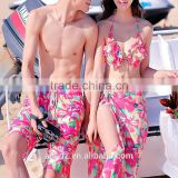 2016 new design sexy girls three-piece bikini small chest Korea Swimwear men's beach pants couples Swimwear