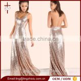 Backless Cami Long Maxi Twinkle Sequin Evening Dress