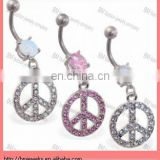 Belly ring with dangling jeweled peace sign button piercing jewelry with gems in surgical steel