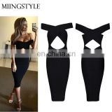 Hot selling off shoulder woman dress bodycon design rayon sexy fashion woman dress