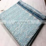 Hand made kantha quilt vintage twin size throw hand stitched Mughal Turquoise