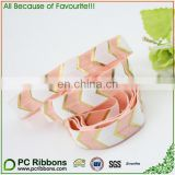 Foil Aztec chevron print fold over elastic striped elastic ribbon