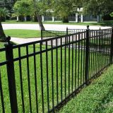 Powder coated black 3 rail flat tip fence for house