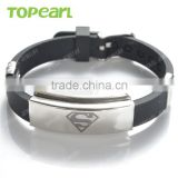 Topearl Jewelry Black Rubber Stainless Steel Fashion Superman Symbol Bracelet for Men MEB224