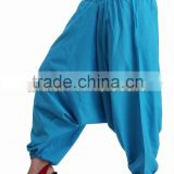 Indian Women Cotton Sky Blue Color Harem Pants Causal Trouser Yoga Dance Baggy Hippie Genie Boho Casual Pants