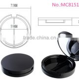 MC8151-2 empty round matte black plastic cosmetic powder case