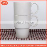 stackable mug Cup stacking cheap porcelain round stacked coffee stripe cup with handle tea and new bone china milk mug
