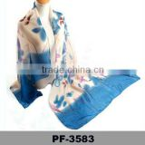 Latest Design Bandanna Custom Made Newest Style Flower Logo Print Silk Scarf 2016