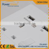 UK Standard Wall Power charger 230V 13A with 2 USB output 4.8Amp Phosphor Bronze material for Hotel/Residential /Airport/bank