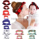 Hot-sale mommy baby knotted turban headband head wraps mommy and baby headbands for hair accessories polka dot headwear wh-1737