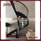 interior modern curved glass railing wood stair/tempered glass staircase