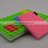 Pink 4x6 Unlined Silicone Building Blocks Cover Notebook with Brick Design Fastening Device