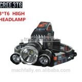 2015 Lastest Rechargeable 3LED Head Torch With 4 modes Outdoor Lighting 3T6 LED Headlamp