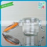 Wholesale Clear Airtight Duck Foie Gras Glass Jar With Metal Clip Glass Round Jar With Rubber Lid Food Honey Glass Storage Jar