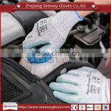 SEEWAY HHPE mixed with Glass Fiber knitted Cut Resistant Level 5 Nitrile Coated Palm for Oil Proof Protective Work Gloves