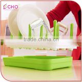 Kitchen Tableware Plastic Rectangle Green Draining Dish Rack for Water Cups and Saucers Holder