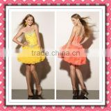 2012 New Arrival Stylish Short Yellow Puff Organza Sweetheart Beaded Cocktail Dress Homecoming Dress MLC-126