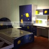 environmental friendly board blue sky celestial body kids furniture bedroom set for little boy