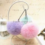 Natural Fur Ball Keychain / 8cm Rex Rabbit Fur Pompoms Keychain For Bag                                                                         Quality Choice