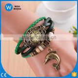 2016 Fashion New Arrval Quartz Weave Lovely Dolphin Bracelet Lady Woman Watch Elephant Bracelet Hot Sale/vintage watch VW021