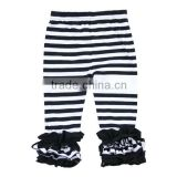 Wholesale 2016 black white strip with different color triple ruffle girls knit cotton icing ruffle pants
