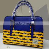2016 Famous new style side bags for girls ankara african prints and fabric bag real leather handbag for office lady