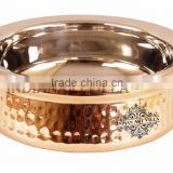 IndianArtVilla High Quality Steel Copper Handi Serving Bowl 500 ML - Serving Dish Curry Home Hotel Restaurant Tableware