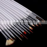 16pcs White Nail Brush Brushes Set Nail Paint Design Pen Tools for False Nail Tips UV Nail Gel Polish