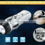 LED multifunction dynamo flashlight torch with radio,emergency alarm and mobile charger