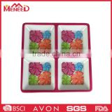 Flower custom 4 compartments melamine plate, square plastic airline dishes and plates