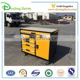 Small steel storage tool cabinet with wheel