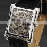 Factory Price New Square Men's Mechanical Analog Stainless Steel Leather Skeleton Mens Sport Wrist Watch Men