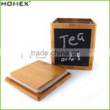 Natural Bamboo Tea Coffee Sugar Canister With Lid/Homex_Factory