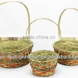 S/3 ORANGE WASH ROUND BAMBOO CHIP BASKET W/HANDLE