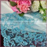 Royal blue floral sequin embroidery beaded lace fabric, tulle wholesale sequin fabric for dress