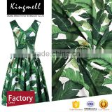 Custom 2017 wholesale green banana leaves digital printed natural 100% cotton fabric for dress