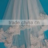 Hot sale embroidery scalloped edged beaded flower lace trim wedding veils