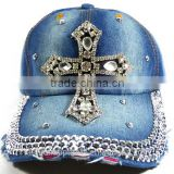 Fashion Jeans Rhinestud Baseball Caps 6 panels Jesus decorated Headwear