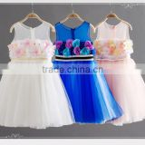 2016 New Blue Princess Dress For Little Girl Adorable Girl Party Dress Cute Kids Wear GD90427-9