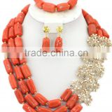 3Rows Column Coral Beads with Rhinestone Flowers African Jewelry Set