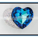2015 factory price XP-BP-0325 heart brooch pin wholesale crystal blue double heart brooch