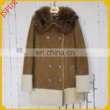 Fashion Style Women Fur Coat Double-Face Sheepskin Fur Coat With Real Raccoon Fur Collar