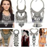 Exaggerated Handmade Steam Punk Maxi Statement Necklace Top Quality Crystal Long Bib Pendant Silver Plated Necklace