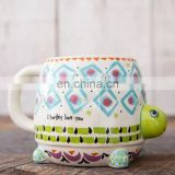 Hot New Products Cute Animal Designs 3d Ceramic Coffee Mug Creative Turtle Shaped Ceramic Mug