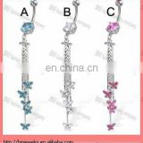 Belly button ring with big gem and five butterflies on chains body piercing jewelry rings