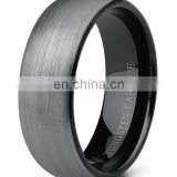 Best selling alibaba jewelry mens tungsten ring, flat brushed black tungsten carbide ring blank