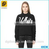 Latest design cheap custom women hoodies Black print cotton hoodies made in china